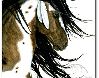 Majestic White Feathers Pinto Paint Horse ArT-  Giclee Print by Bihrle mm159
