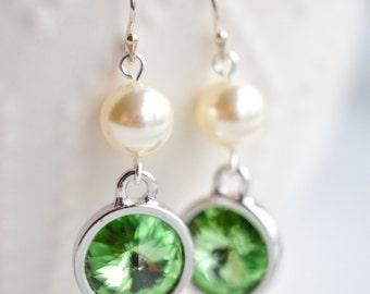 August Birthstone Peridot Crystal and Pearl Silver Earrings
