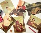 Set of Postcards, Card Set, Forest, Woods, Woodland, Girl, Book, Animals, Cute, Moon, Deer, Bear, Mermaid, Nautical, Book Lover, Whimsical