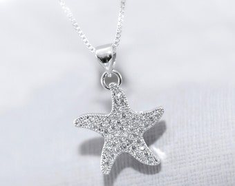 Beach Wedding Necklace, Sterling Silver and Pave CZ Starfish Pendant on Fine Sterling Silver Necklace Chain, Bridesmaid Gift