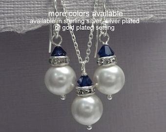 Navy Bridal Jewelry Set, Dark Blue Bridesmaid Jewelry Set, Will You Be My Bridesmaid, Wedding Jewelry, Maid of Honor Gift, Flower Girl Gift