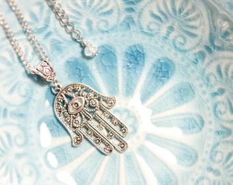 Tibetan silver Hamsa necklace, Hamsa, Hand of Fatima, long necklace, Boho, 1001 nights, Judaica, Arabic, Oriental, חמסה
