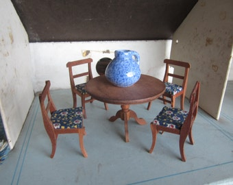Dollhouse  Decor. Wooden Round Table, four chairs made by Reeves, Japan.Blue Specked Pitcher #206