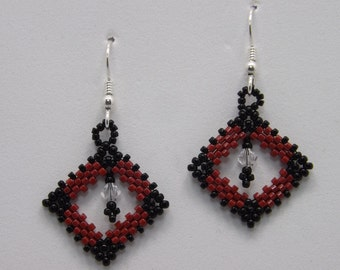 Red and Black Peyote stitch Square Earrings with Sterling Silver Earwires Sku: ER1013