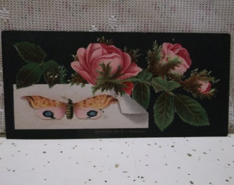 1876 Prang Blank Victorian Trade Card-Colorful Flowers Roses on Black-Butterfly