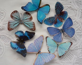 Hand cut silk butterfly hair clips with Swarovski Crystal. Wedding, Prom - Set of 7 BLUES