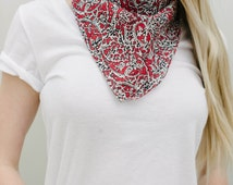 Red Paisley Bandana Scarf, Red Neckerchief, Red Neck Scarf, Red Square Scarf, Neck Tie Scarf, Liberty of London Scarf, Red Silk Scarf
