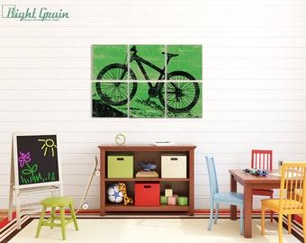 Large Mountain Bike Art - Custom Bicycle Print Wall Art - Kids Room - Boys Room Decor