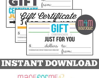 "INSTANT Download |  R+F Gift Certificates | Set of 3 4"" x 8"" 
