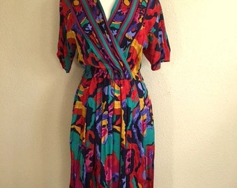 Vintage 80s MULTICOLOR Abstract WRAP Dress With Pockets / Womens Medium Large