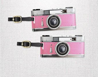 Retro Camera Photographer Luggage Tags Personalized Luggage Tags  Personalized Custom Backs - 2 Tags with Straps- Pretty Princess Pink