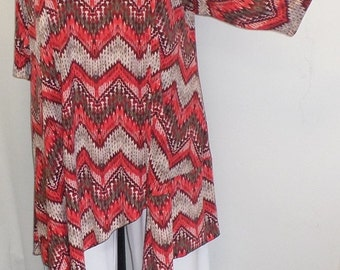 Plus Size Tunic, Coco and Juan, Plus Size Tunic, Asymmetric Tunic Top, Rust Zig Zag Print Traveler Knit Size 2 (fits 3X,4X)   Bust 60 inches