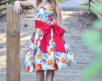 Girls One-Shoulder Dress - Boho Dress - Floral Dress - Asymmetrical Dress - Handmade Dress - Recital Dress - Boutique dress  Red Aqua Yellow