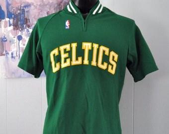 Vintage Celtics Warm Up Jersey Shirt 80s Kelly Green Boston nba Indie Irish Sand Knit MacGregor MEDIUM LARGE