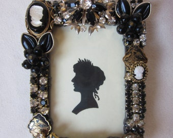 Vintage Rhinestone Jewelry Picture Frame Black Gold Cameo
