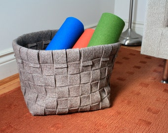 "Woven Wool Felt Basket - Natural Gray, 11"" x 11"" x 9.5"""