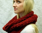 Chunky Cowl, Crochet Infinity Scarf Hood, Red, Soft, style Charlie