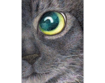 cat art print - A Black Cat Looking Up- tabby cat drawing pet portrait, cat lover's gift, realistic artwork, nursery room decor