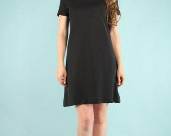 Vintage LBD Mod Mini Black Dress 60s Short Sleeve Scooter Medium