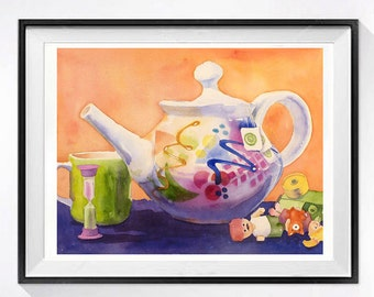 Collectible Teapot still life ORIGINAL watercolor painting / Cottage kitchen home wall decor / Holiday housewarming gift for her 10 x 13