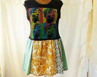 Medium Tupac Shakur Andy Warhol Babydoll Dress/Tupac Dress/2Pac dress/Babydoll Dress/Upcycled Clothing/Short Dress/summer dress/Makaveli
