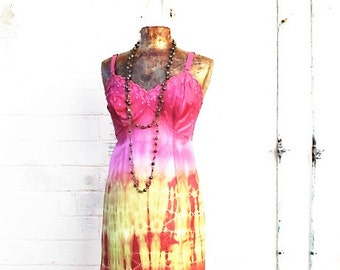 Medium Tangerine Cream Tie Dye Sundress/Hippie Dress/Fairy Dress/Music Festival Dress/Slip DressBlood Orange/Upcycled Clothing//Ecru