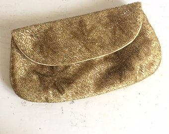 Vintage 60s Glam Gold Beaded Silk Evening Clutch Handbag By Magid Japan
