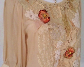 handmade top, applique top, wearable art, christmas gold, christmas top, victorian lace, antique lace, copper beads, vintage lace