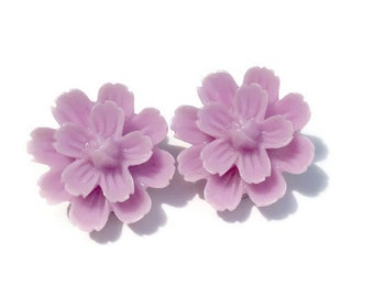 Lavender Spring Dahlia Flower Clip On Earrings