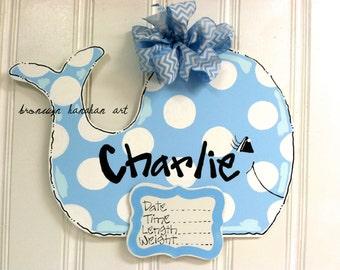 Baby Blue Whale Birth Announcement Door Hanger - Bronwyn Hanahan Art