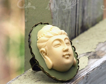 Buddha Ring - Big Cameo Statement Ring - Namaste