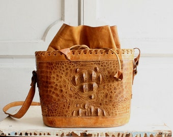 vintage alligator bucket bag