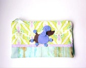 """Zipper Pouch, 5.75x9.25"""" in cream, aqua, green, blue and purple butterflies with Handmade Felt Poodle Dog Embellishment, Poodle Pencil Case"""