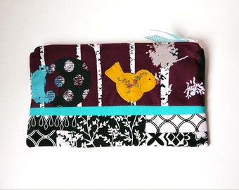 "Zipper Pouch, 5.5x9"" in plum, turquoise, white, black and yellow woodland print with Handmade Felt Bird Embellishment, Bird Pencil Case"