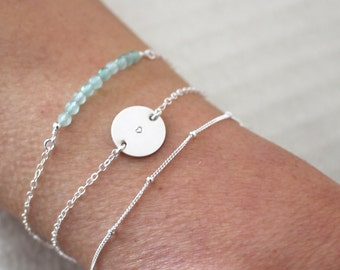 Silver Bracelet Set - Personalised Jewellery - Gemstone and Sterling Silver
