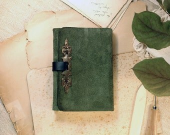 suede journal - Medieval Times leather cover notebook - royal green leather notebook, blank pages leather sketchbook