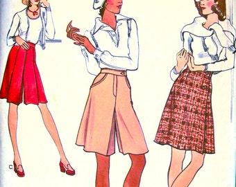 1970's Vogue  Pattern 8673  -  Misses' A-line Pant Skirts   -  UNCUT  * Waist 30 * Hips 40