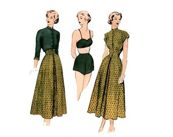 1940s Bra Shorts Skirt Blouse Pattern Summer Coordinates Swimsuit Crop Jacket Advance 5119 Bust 32 UNPRINTED Vintage Sewing Pattern