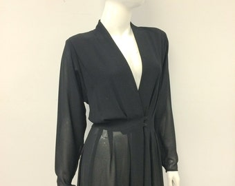 AMAZING 80s CASADEI Wrap Style LBD Dress