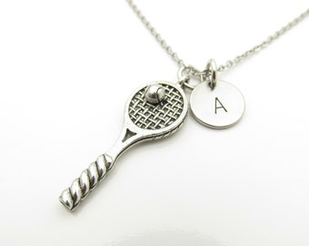Tennis Raquet Necklace, Tennis Ball and Racquet, Tennis Necklace, Tennis Player, Sports Necklace, Personalized, Initial Necklace Y360