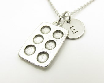 Muffin Pan Necklace, Cupcake Pan, Bakers Necklace, Personalized, Initial Necklace, Antique Silver Muffin Pan, Food Themed Jewelry Y382