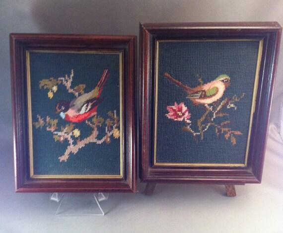 Vintage Framed Bird Needlepoints, Aviary Needlepoint, Americana Bird Frames, Framed Needlepoint, Americana,Framed Birds, Birds, **USA ONLY**