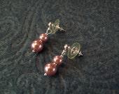 Double Rose Faux Pearl Post Earrings