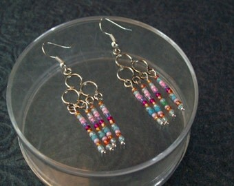 Rainbow Colors Chandelier Earrings