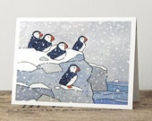 Puffins in Snow Card - Illustrated Christmas Holiday Card