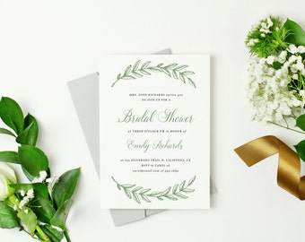 Printable Bridal Shower Template, Woodland Wreath Shower, Word or Pages, MAC or PC, Editable Artwork Colors, Instant DOWNLOAD