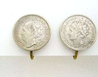 Vintage Screw Back Earrings Silver Wilhelmina Koningin Der Nederlanden 1944