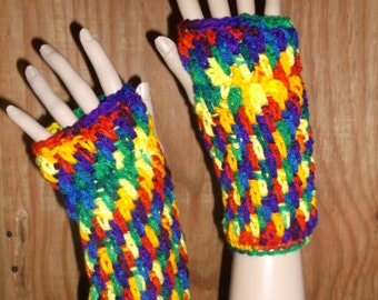 Crochet Wrist Warmers, Fingerless Gloves, Crochet Gloves, Wirst Warmers, Winter Gloves, in Rainbow Colors,