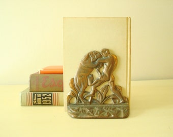 Art Deco bookend, vintage cast iron, Gladiator and Lion, 1930s bronze finish bookend, bronze patina, home decor