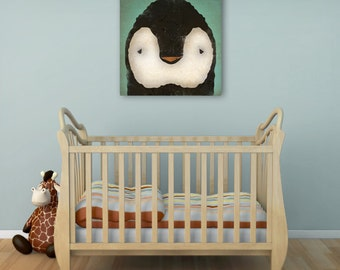 PENGUIN baby Chick Graphic Illustration Stretched Canvas Baby Nursery Wall Art signed